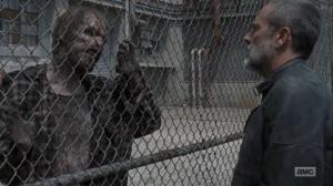 Adaptation- Negan kills walkers outside the Sanctuary- AMC, The Walking Dead