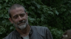 Adaptation- Negan smiles at Judith- AMC, The Walking Dead