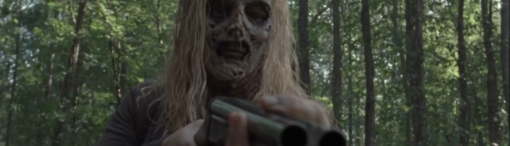 Adaptation- Walker points a gun at Alden and Luke- AMC, The Walking Dead