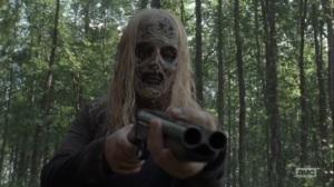 Adaptation- Walker points a gun at Alden and Luke- AMC, The Walking Dead