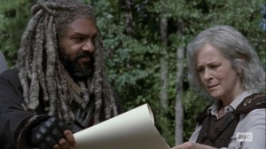 Bounty- Ezekiel and Carol look over the charter- AMC, The Walking Dead