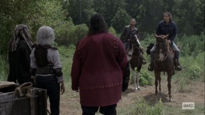 Bounty- Jesus and Tara meet with Ezekiel, Carol, and Jerry- AMC, The Walking Dead