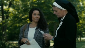 Hunters in the Dark- Amelia asks Sister Alice, played by Silvia McClure, about Julie Purcell- HBO, True Detective