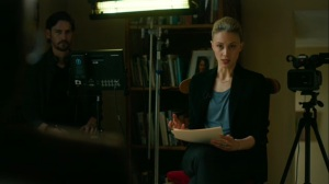 Hunters in the Dark- Elisa Montgomery asks Wayne if the phone call was a turning point for law enforcement- HBO, True Detective