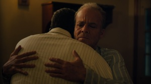 Now Am Found- Roland and Wayne hug- HBO, True Detective
