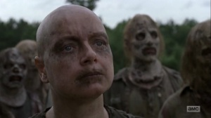 Omega- Alpha, played by Samantha Morton, introduces herself to the survivors and demands her daughter- AMC, The Walking Dead