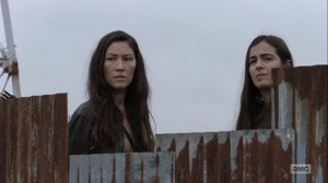 Omega- Yumiko and Tara see Connie and Kelly returning to the Hilltop- AMC, The Walking Dead