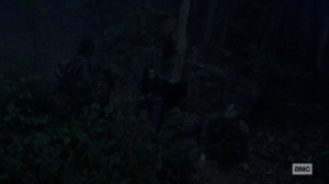 Chokepoint- Daryl, Connie, Henry, and Lydia in the woods- AMC, The Walking Dead