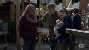 Chokepoint- Earl and Tammy show the baby to Nabila- AMC, The Walking Dead
