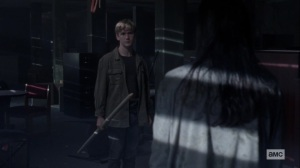 Chokepoint- Henry makes a spear for Lydia- AMC, The Walking Dead