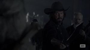 Chokepoint- Highwaymen listen to Carol's proposal- AMC, The Walking Dead