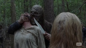 Guardians- Beta holds a knife to one of the Whisperers- AMC, The Walking Dead