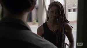 Guardians- Michonne tells Aaron that she won't veto a revote- AMC, The Walking Dead