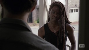 Guardians- Michonne tells Aaron that she won't veto a revote- AMC, The Walking Dead