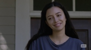 Guardians- Rosita smiles at Gabriel- AMC, The Walking Dead