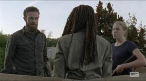 Scars- Aaron tells Michonne that he doesn't trust Lydia- AMC, The Walking Dead