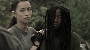 Scars- Jocelyn, played by Rutina Wesley, with Rosita- AMC, The Walking Dead