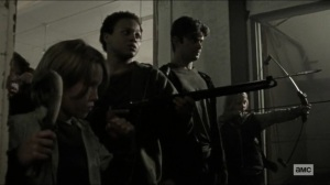 Scars- Jocelyn's kids aim their weapons at Daryl and Michonne- AMC, The Walking Dead