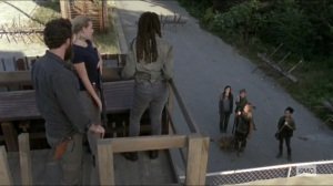 Scars- Michonne, Aaron, and Laura see Daryl with Laura, Connie, and Henry- AMC, The Walking Dead