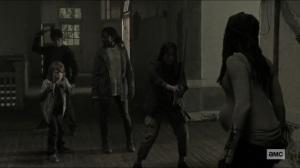 Scars- Michonne about to fight Jocelyn's kids- AMC, The Walking Dead