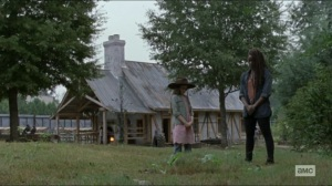 Scars- Michonne and Judith at Carl's grave- AMC, The Walking Dead