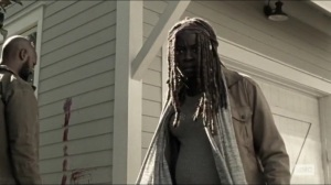 Scars- Michonne and Scott find a body- AMC, The Walking Dead