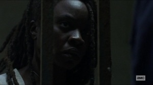 Scars- Michonne demands that Negan tell her where Judith is- AMC, The Walking Dead