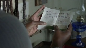Scars- Michonne finds Judith's note- AMC, The Walking Dead