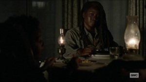 Scars- Michonne has dinner with Judith and RJ- AMC, The Walking Dead