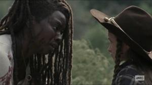 Scars- Michonne saves Judith- AMC, The Walking Dead