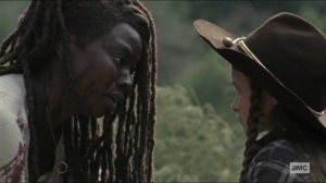 Scars- Michonne saves Judith- AMC, The Walking Dead
