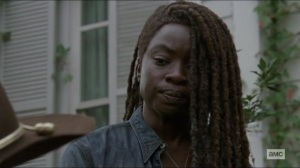 Scars- Michonne speaks to Judith at the grave site- AMC, The Walking Dead