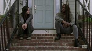 Scars- Michonne talks to Lydia about walking away- AMC, The Walking Dead