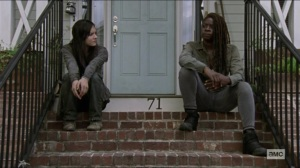 Scars- Michonne talks to Lydia about walking away- AMC, The Walking Dead