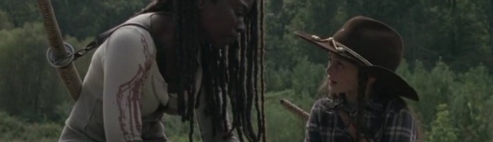 Scars- Michonne tells Judith about the incident with Jocelyn- AMC, The Walking Dead