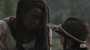 Scars- Michonne tells Judith that it's not that simple- AMC, The Walking Dead