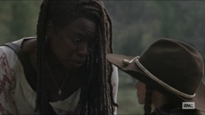 Scars- Michonne tells Judith that it's not that simple- AMC, The Walking Dead