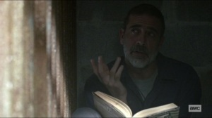 Scars- Negan tells Michonne that he hasn't seen Judith today- AMC, The Walking Dead