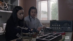 The Calm Before- Eugene and Rosita work on the radio- AMC, The Walking Dead