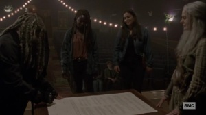 The Calm Before- Ezekiel presents the charter for everyone to sign- AMC, The Walking Dead