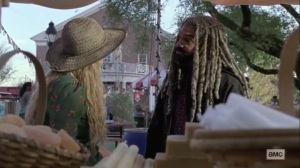 The Calm Before- Ezekiel speaks with Alpha at the fair- AMC, The Walking Dead