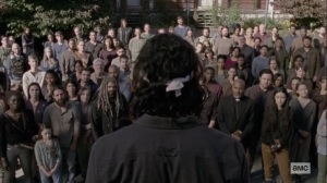 The Calm Before- Siddiq addresses the crowd on the murders- AMC, The Walking Dead
