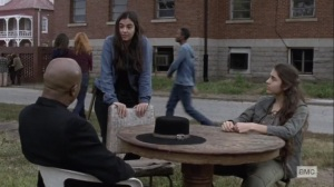 The Calm Before- Tara speaks with Rachel and Gabriel about training their fighters- AMC, The Walking Dead