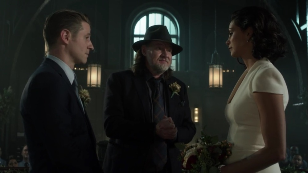 The Trial of Jim Gordon- Harvey officiates Jim and Leslie's wedding- Fox, Gotham