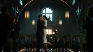The Trial of Jim Gordon- Leslie and Jim kiss after being made husband and wife- Fox, Gotham