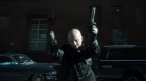 The Trial of Jim Gordon- Zsasz opens fire on the GCPD officers- Fox, Gotham