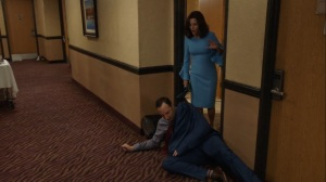 Iowa- Gary sleeps outside Selina's room- HBO, Veep