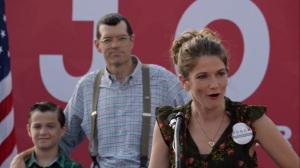 Iowa- Jonah's wife, Beth, played by Emily Pendergast, speaks to the crowd- HBO, Veep