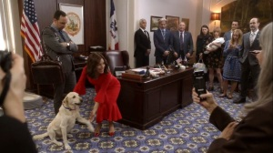 Iowa- Selina shakes hands with Mayor Biscuit- HBO, Veep