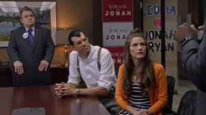 Pledge- Teddy, Jonah, and Beth listen to Richard- Veep, HBO